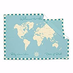Personalised Baby Blanket Welcome to the World Map Nursery Blankets Baby Shower Gifts