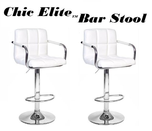 Chic Elite Modern Adjustable Synthetic Leather Swivel Bar Stools - White - Set Of 2 front-494658