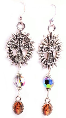 Our Lady of Guadalupe Earrings Catholic Jewelry Catholic Earrings Religious Jewelry Swarovski Crystal