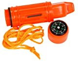 NEW 5 IN 1 CAMPING EMERGENCY WHISTLE,COMPASS, MIRROR ETC