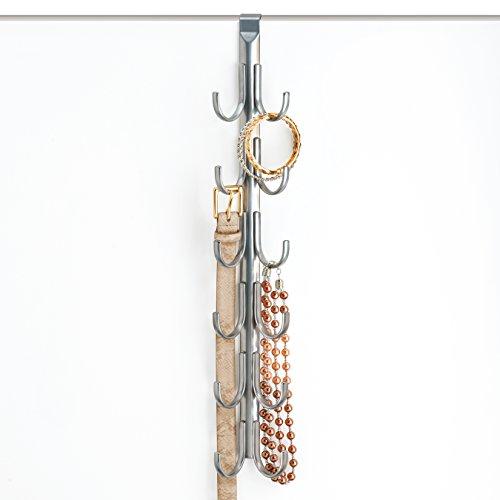 Lynk Over Door Accessory Hanger - Scarf, Belt, Hat, Jewelry Organizer - Vertical 12 Hook Rack - Platinum (Cap Rack Over The Door compare prices)