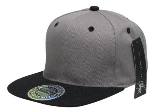 City Hunter NY USA Snapback Baseball Flat Peak Cap in Grey and Black