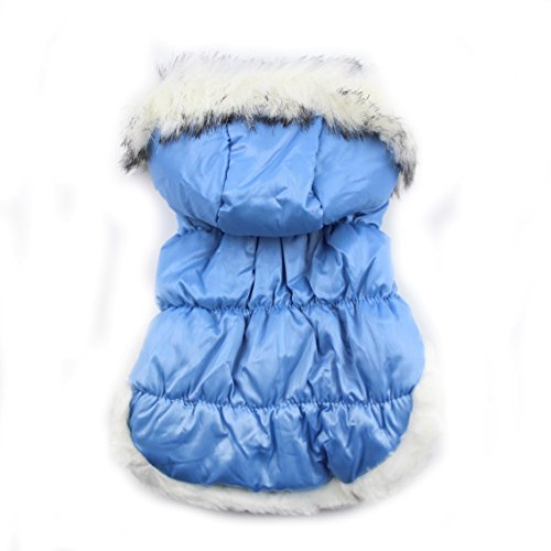[DinTo Small Pet Faux Pockets Coat Pet Ski Vest Waterpoof Fur Trimmed Dog Puppy Hoodie Jacket] (Ski Costumes)