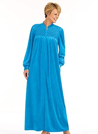 Zip-Front Velour Robe, Color Turquoise, Size SM