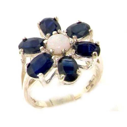 Solid English Sterling Silver Womens Large Fiery Opal & Sapphire Flower Ring - Size 12 - Finger Sizes 5 to 12 Available - Suitable as an Anniversary ring, Engagement ring, Eternity ring, or Promise ring
