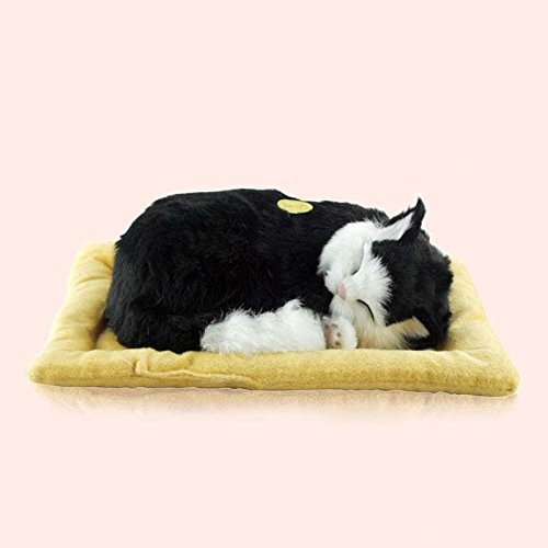 LIB-Lifelike-Breathing-Sleeping-Purring-Cat-Pet-Belly-Moves-Up-and-Down-EMS-7-Days-shipping-26x18x10cm-with-Mat
