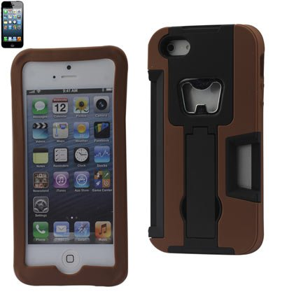 Reiko SLCPC11-iPhone5BRBK Premium Durable Silicone Protective Case for iPhone 4G with Bottle Opener - 1 Pack - Retail Packaging - Brown/Black
