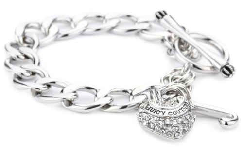 Juicy Couture Pave Heart Starter Bracelet Silver-Tone