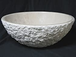 Italian Verona Marble Textured Chiseled Bathroom Sink Vessel Bowl Basin