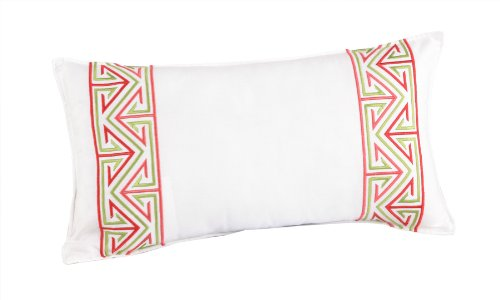 Trina Turk Trellis Border Embroidered Decorative Pillow, 20 By 10-Inch, Coral front-844468