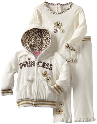Young Hearts Baby-girls Infant 3 Piece Princess Velour Jog Set, Light Beige, 18 Months