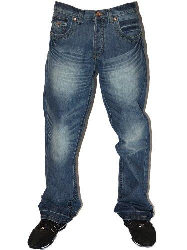 Mens Lightwash APT-A Designer Branded Button Fly Boot Cut Denim Jeans W40 L30