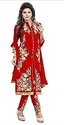 Sanjana Design Women's fashino Georgette dress material ( KS4010_Free Size_Red)