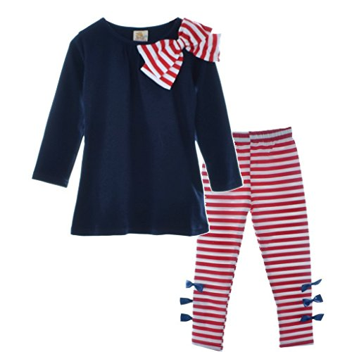 Yo Coco Girls Navy Long Sleeve Bowtie Shirts + Striped Leggings Pants 2ps Sets Size 6-7 Y (Old Navy In Girls Clothing compare prices)