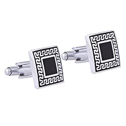 The Jewelbox Designer Checks Square Black Silver Enamel Rhodium Plated High Quality Brass Cufflink Pair for Men