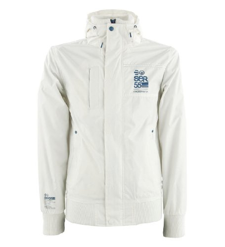 Crosshatch 'Eckle' Men's Hooded Zip-Thru Windbreaker Jacket White S