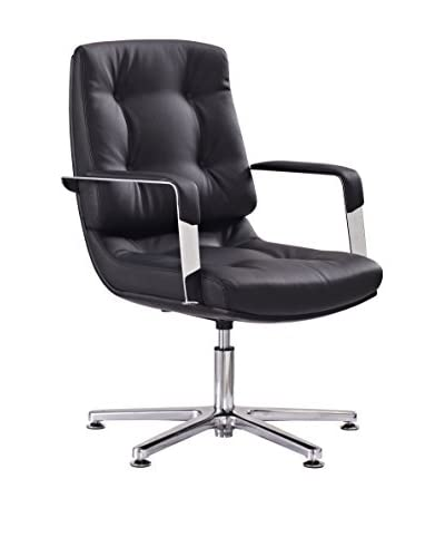 Whiteline Princeton Visitor Office Chair, Black/Silver