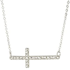 Heirloom Finds Trendy Silver Tone Crystal Sideways Cross Necklace