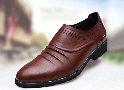 inverno autunno moda uomo vera pelle Business cuoio classico punta casual scarpe , brown , 41