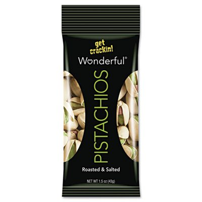 Wonderful Pistachios Roasted and Salted Pistachios, 1.5-Ounce bags (Box of 24 bags)