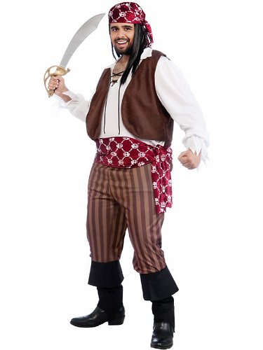 Adult Shipwrecked Pirate Plus Sized Costume