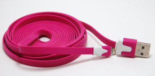CablesFrLess (TM) Hot Pink 10ft 8 pin to USB Tangle Free Flat Noodle Charging / Data Sync Cable fits iPhone 5, iPod Touch 5 and iPad mini