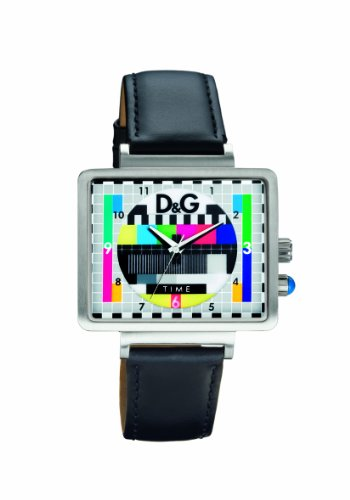 D&G Men's Watch DW0514 with Tv Dial and Black Leather Strap