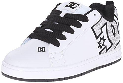 DC Men's Court Graffik SE Skate Shoe,  White/White Print,  10