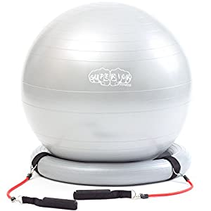 600lb Anti Burst Stability Exercise Ball with Latex Resistance Bands with Pump