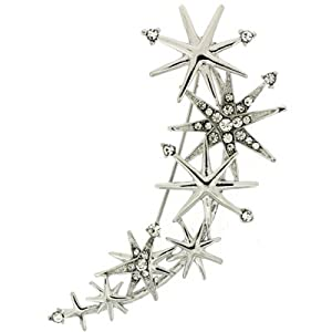 Brooches Store Silver and Crystal Star Rain Brooch