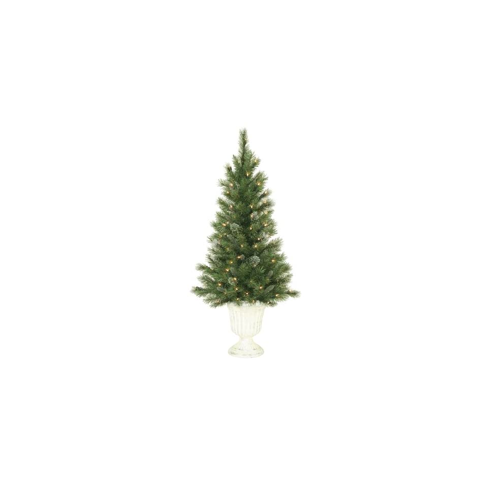 Pre Lit Potted Frosted Blue Pine Christmas Tree in White Urn