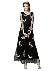 Fancy Western Wear And Party Wear Georgette Black Printed Halterneck With Net Full Sleeves Regular Fit Dress By H K Sales(Size L)