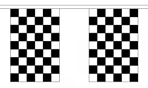 Black & White Check Bunting 9M Metre Length With 30 Flags 9X6 F1 by Black & White Check