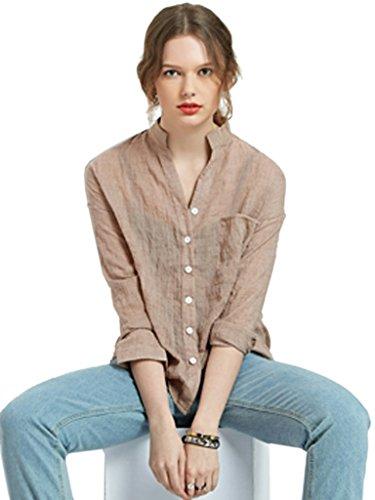 Choies women 39 s khaki stand collar pocket button roll up for Khaki button up shirt