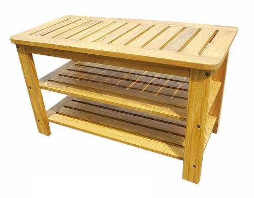 Outdoor Shoe Bench With 2 Shelves In Teak Wood Handcrafted Home Decor