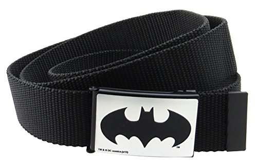 "Batman DC Comics Web Belt 1.5"" Wide Brushed Silver with Black"