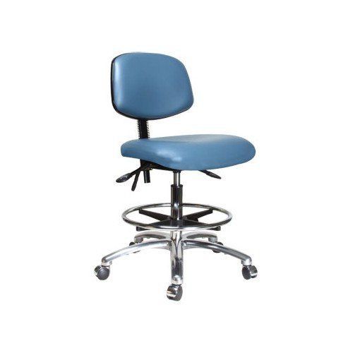 perch chrome rolling laboratory chair with footring and adjustable