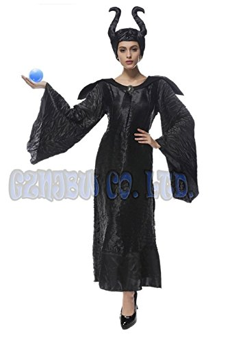 Adult Womens Maleficent black witch Cosplay Costume Outfit Halloween Fancy Dress (M) (Abba Fancy Dress Outfits)