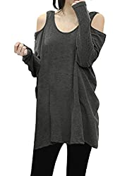 Allegra K Women Long Sleeves Cut Out Shoulders Loose Design Tunic Top