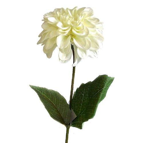 Zinnia fiore artificiale, 45 cm, con stelo, colore: crema