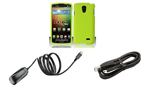 Lg Lucid 3 Vs876 - Neon Green Protective Hard Snap-On Cover Case + Atom Led Keychain Flashlight + (850 Mah Output) Wall Charger + Micro Usb Cable