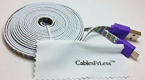 Cablesfrless 6Ft Tangle Free Noodle Style Micro Usb Charging / Data Sync Cable Fits Most Android Devices (Zigzag)