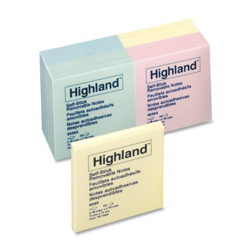 Highland Notes, 3 x 3-Inches, Assorted Pastel Colors, 12-Pads/Pack