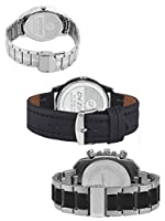 Dezine 3 Pcs Combos Of Silver & Black Coloured Quartz Watch For Men