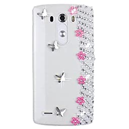 LG V10 Bling Case - Fairy Art Luxury 3D Sparkle Series Small Flowers Butterfly Crystal Design Back Cover with Soft Wallet Purse Red Cloth Pouch - Peach