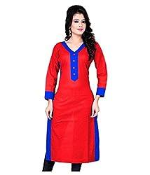 Shubh Women's Cotton Kurti (Shubh_193_Red_Free Size)
