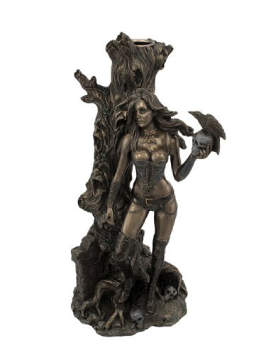 Bronze Finish Gothic Cemetery Girl Taper Candle Holder Figure by US