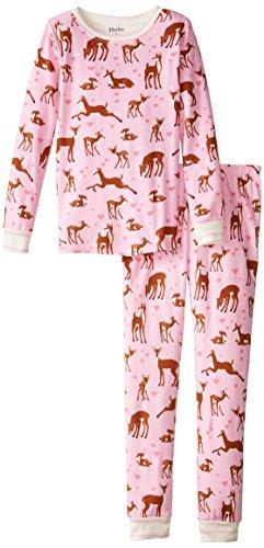 Hatley Little Girls' Pajama Set Overall - Soft Deers, Pink, 3