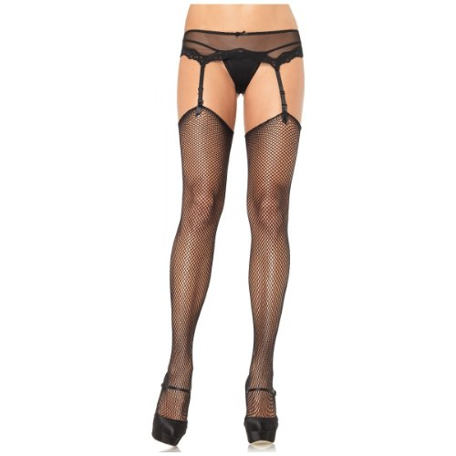Fishnet Thigh High Stockings Hosiery - One Size - Dress Size 6-12