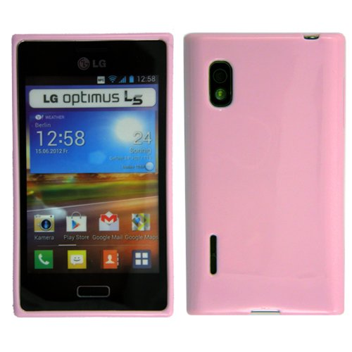 Original Phonecastle Schutzhülle Silikon Gel Case in Rosa Silicon Tasche Hülle LG E610 Optimus L5 & 2 x Displayschutzfolie